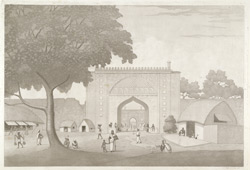 'View of the ancient City Gate, Rajemahal' [Rajmahal]. Aquatint, drawn and engraved by James Moffat, published Calcutta 1806